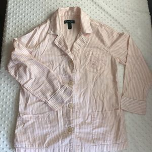 Ralph Lauren Pajama Top striped pink monogram